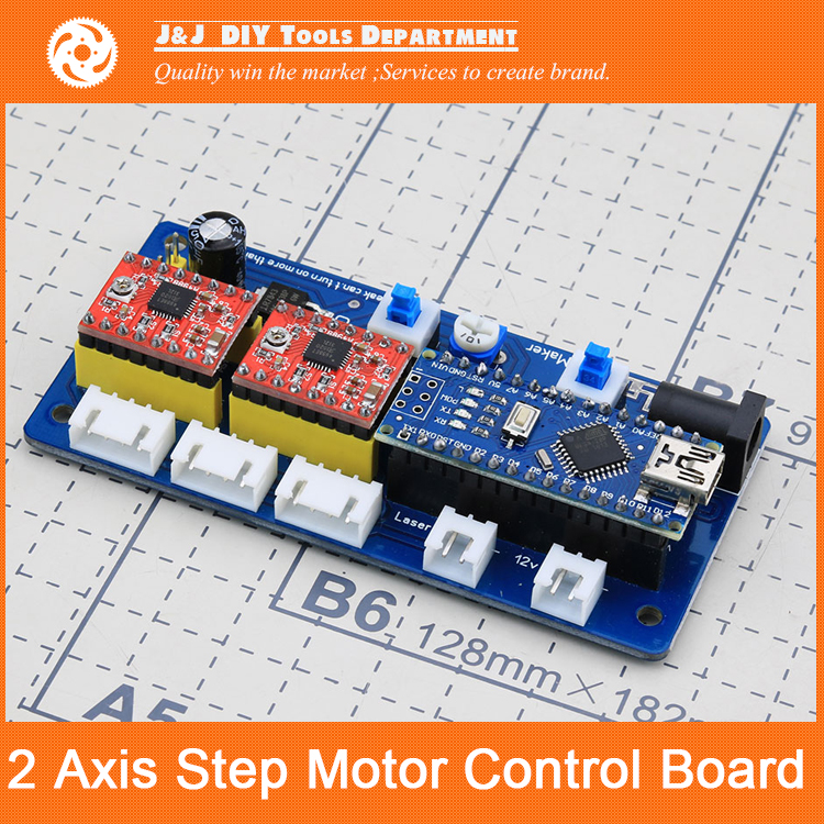 ФОТО 2-Axis Stepper Motor Drive Control Board, Used for DIY Laser Engraving Machine Motherboard, Support GRBL0.9, BenBox