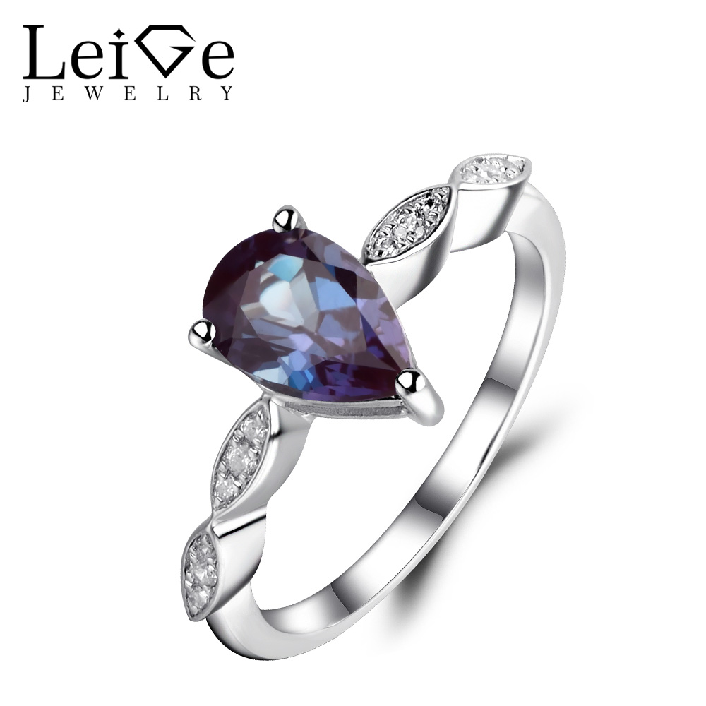 Leige Jewelry Lab Alexandrite Ring Pear Cut Promise Rings 925 Sterling Silver Color Changing Fine Gemstone June Birthstone leige jewelry pear shaped engagement rings for women lab alexandrite promise ring sterling silver 925 fine jewelry pear gemstone