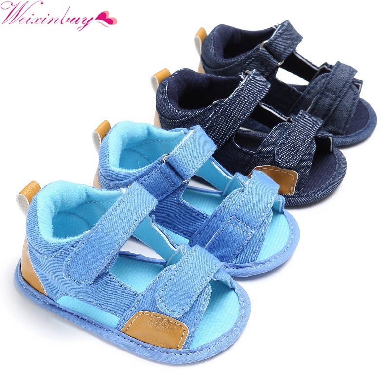 Sandals For Baby Shoes Hook Baby Jean Cloth Beach Infant Baby Boy Sandals Soft Sole Crib Toddler Simple Sandals Blue Boy Shoes