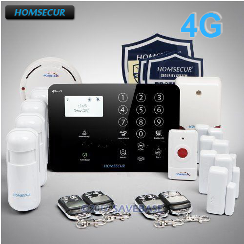 HOMSECUR Wireless&wired 4G/GSM LCD Burglar Intruder Alarm System+SOS Intercom ...