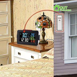 Image 4 - שעון מעורר חם אלחוטי דיגיטלי מדדי לחות מדחום אלחוטי טמפרטורה לחות צג עם תאורה אחורית T