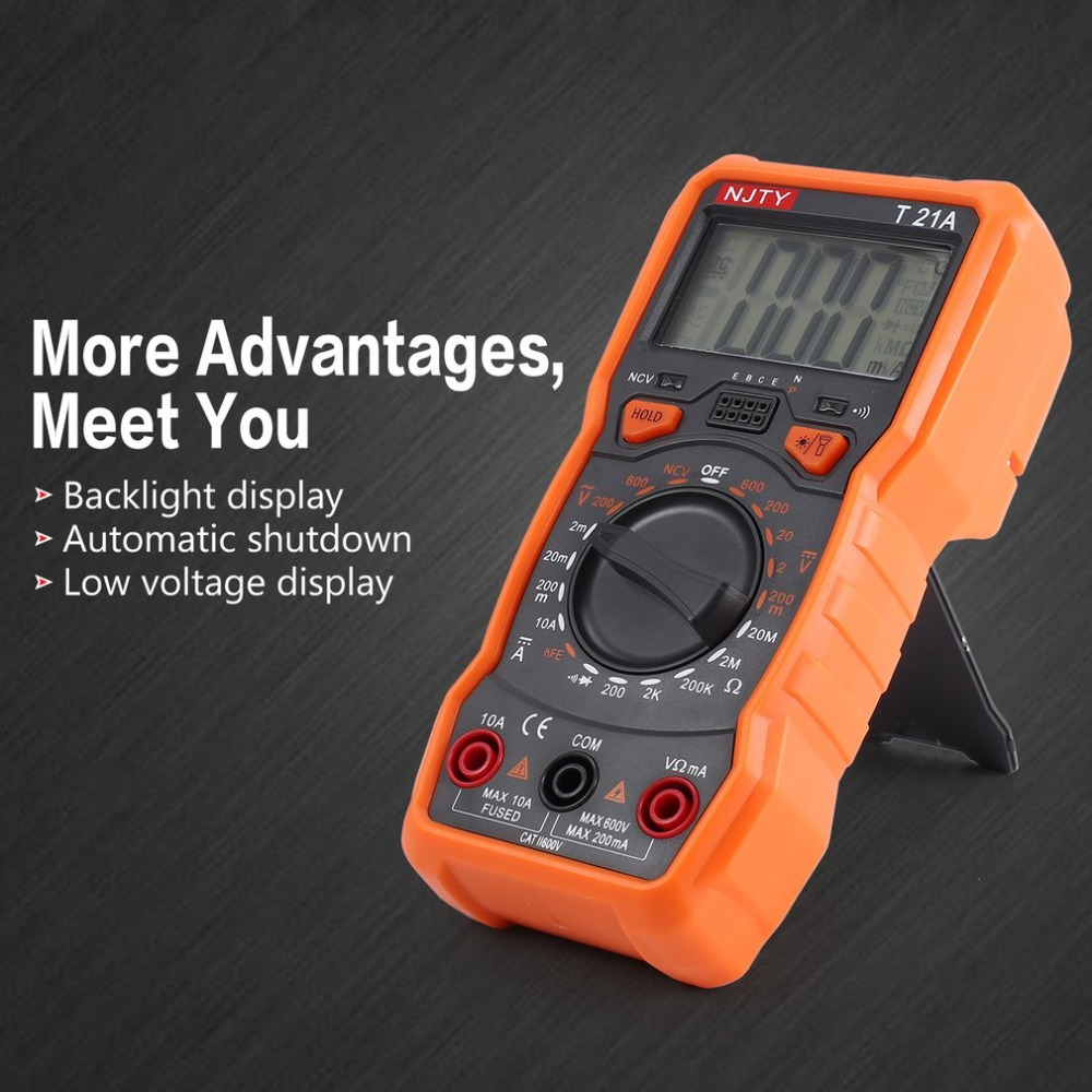 Digital Multimeter NJTY T21A DC AC Voltage Current Meter Handheld Ammeter Ohm Diode NCV Tester 2000 Counts Multitester in Multimeters from Tools