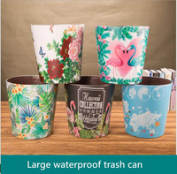 Zakka European Retro Style PU Leather Trash Can Trash Can Trash Large Vintage Waterproof Trash Bin