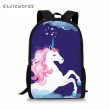 ELVISWORDS Fashion Childrens Backpack Cartoon Unicorn Print Pattern Kids Kawaii Horse Toddler Primary School Book Bags