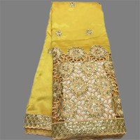 Charming Yellow Embroidery African Raw Silk Material George Lace Fabric With Sequins For Dress OG26 3