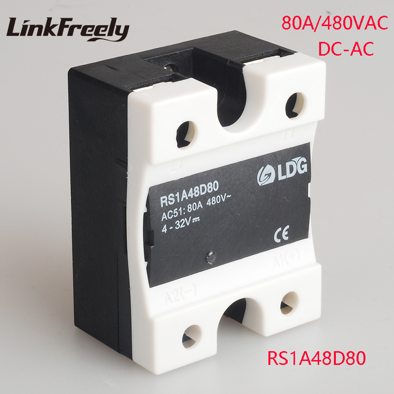 RS1A48D80 2pcs 80A 220V Solid State Relay Mini SSR Relay Output 42-530V AC Input 4-32V DC Voltage Control Relay Switch Module цена