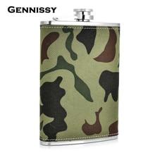 GENNISSY Edelstahl Mini Militär Glaskolben Camouflage Muster Reisen Outdoor Tragbare Kolben für Alkohol 9 unze Whiskyflasche