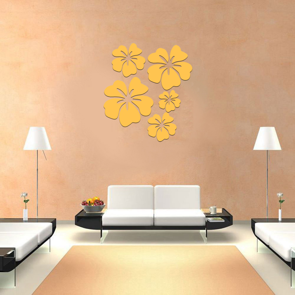 5pcs/set Flower Acrylic 3D Mirror Wall Sticker Mural Decal Removable ...