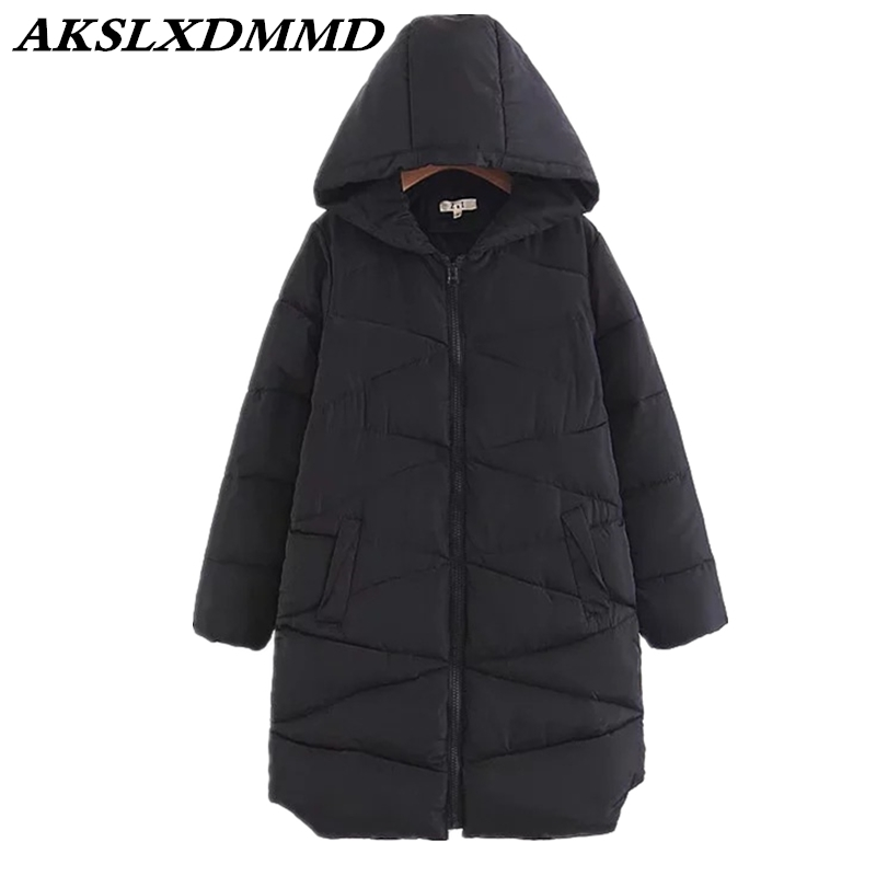2019 New Women Winter Cotton Coat Solid Warmth Loose Large Size Winter Parka Outerwear Fashion Thick Hooded Cotton Jacket CW085