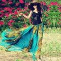 2017 bohemia peacock print chiffon skirt beach expansion bottom maxi skirt two ways full skirts