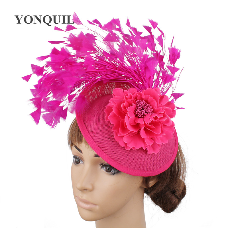 Bridal Imitation Sinamay Fascinator Kentucky Derby Headwear Event Occasion Hats for Church Wedding Party
