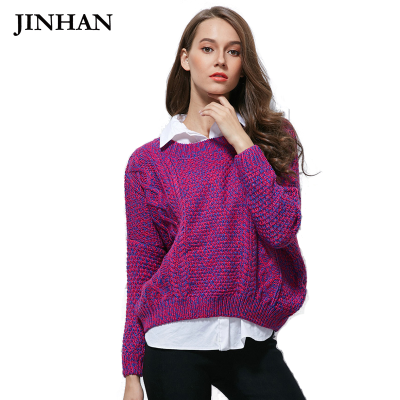 JINHAN Casual Loose Sweater Women Spring O-neck Long Sleeve Female Oversize Knitted Jumpers Tops Fall Christmas Pullovers JHS872