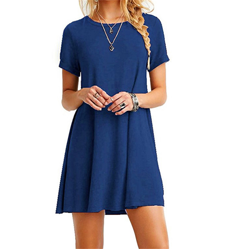 High Quality Fashion Women Black Blue Dress Summer Short Sleeve O-Neck Casual Loose Dress Female Street Plus Size Dress Vestidos 11