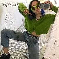 Self Duna 2017 Autumn Female Short Knitted Cardigan Mohair Casual White Black Long Sleeve Plain Jumper