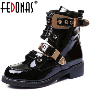 Image 1 - FEDONAS Brand Genuine Leather Golden Buckles Straps Thick Heel Ankle Boots Sexy Autumn Winter Motorcycle Snow Boots Shoes Woman