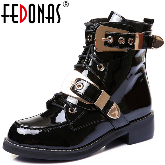 FEDONAS Brand Genuine Leather Golden Buckles Straps Thick Heel Ankle Boots Sexy Autumn Winter Motorcycle Snow Boots Shoes Woman