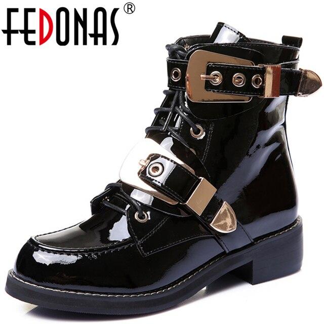 FEDONAS ماركة جلد طبيعي الذهبي أبازيم الأشرطة كعب سميك حذاء من الجلد مثير الخريف الشتاء دراجة نارية الثلوج الأحذية حذاء امرأة