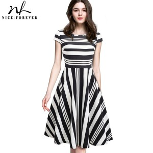 Image 1 - Nice forever Vintage Stripe Print Casual Summer vestidos Business Party A Line Swing Flare Women Dress btyA153