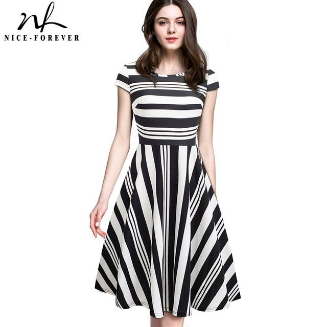 Nice forever Vintage Stripe Print Casual Summer vestidos Business Party A Line Swing Flare Women Dress btyA153