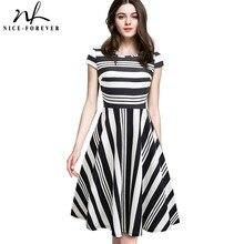 Nice forever vintage stripe print casual verão vestidos de festa de negócios a linha balanço alargamento vestido feminino btya153