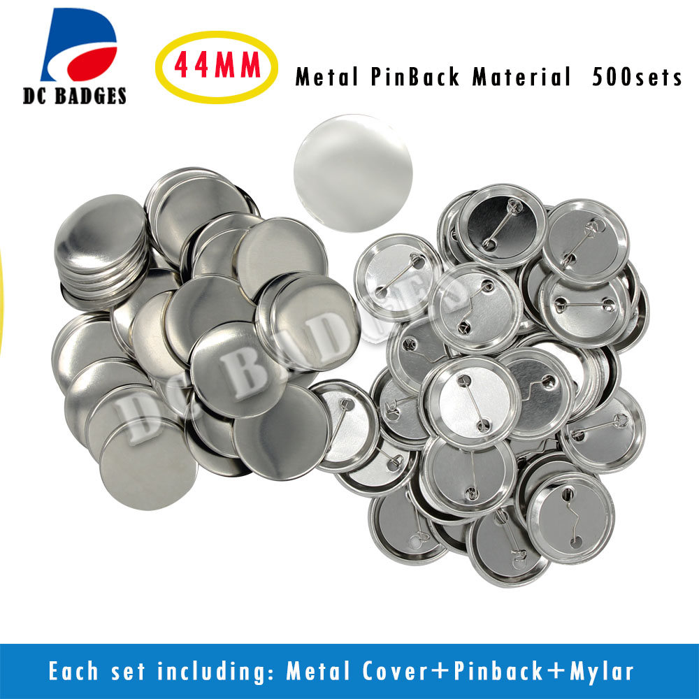 Free Shipping 1-3/4 44mm 500sets  Metal Pin  Button Badge Material,Blank button parts supply free shipping 44mm 200 sets magnet buttons material