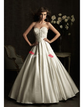 MORI-Off Price Free Shipping 2013 New Elegant A-Line Sweetheart Floor Length Applique White Ivory Wedding Gowns Dre