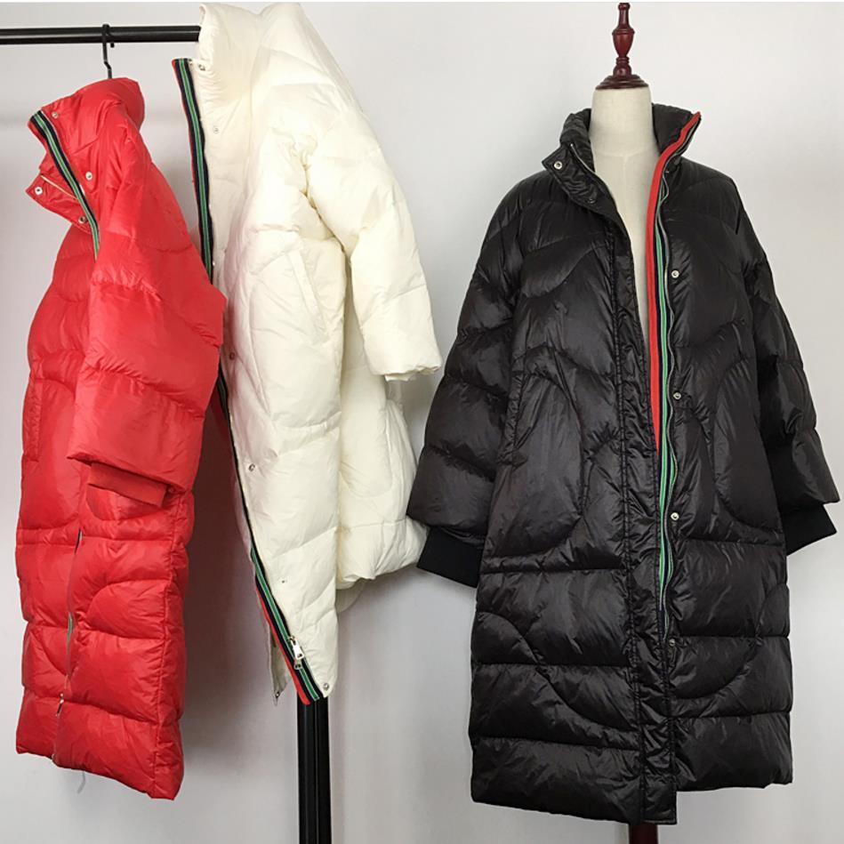 Manteaux Stand Femmes Hiver 2018 Chaud Canard red white 90 Black Blanc Élégant Veste Lâche Automne De Collier SpT7wqFxT
