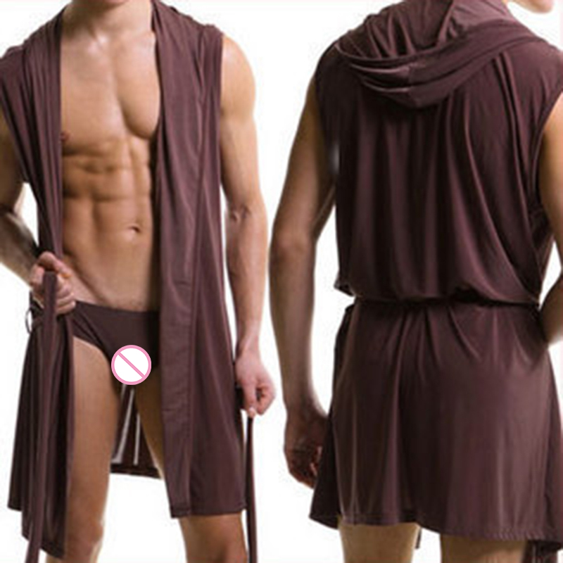 Men Casual Bathrobe Summer Long Robe Soft Sleeveless Sleepwear Nightgown Hooded Bathing Robe Male Nightwear Pajamas Plus Size
