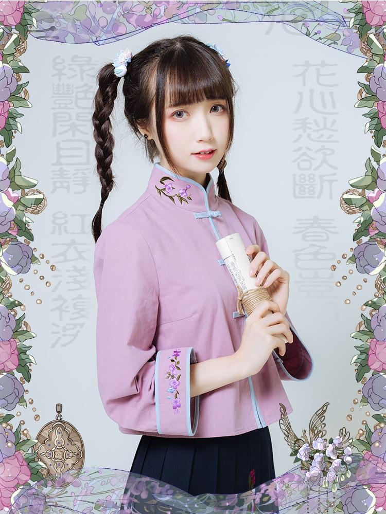 Princesse douce lolita blouse Original style chinois col montant brodé automne et hiver coton fille chemise LG028