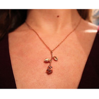 Pink Rose Gold Flower Necklace