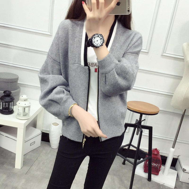Sweater womens Lantern black Korean sweater gray red Coat Spring E0608 Zipper 2016 Blue Knitted Fashion Cardigan Black New neck light V Sleeve Pink Knit Long w7qa0p