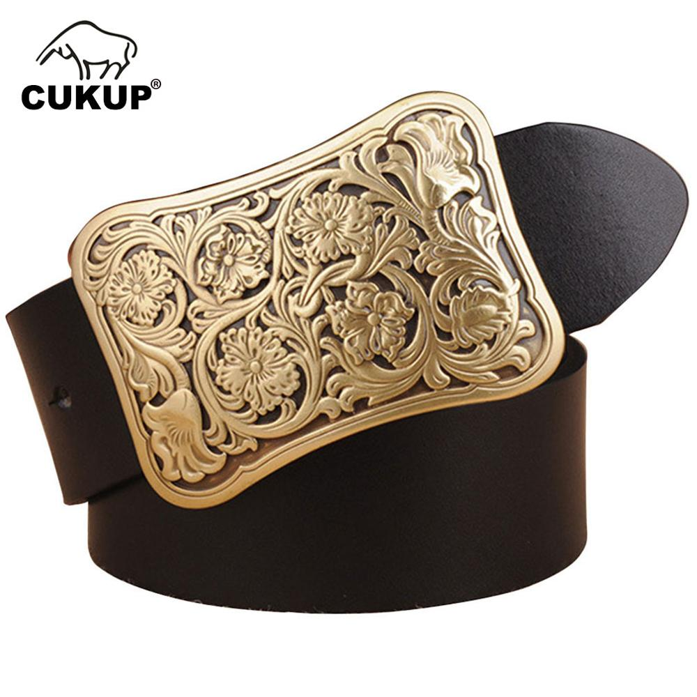 CUKUP Men 39 s Fashion Brass Floral Pattern Smooth Buckles Metal Belts Cow Genuine Leather Belt for Men Accessory 3 8cm Wide NCK149 in Men 39 s Belts from Apparel Accessories