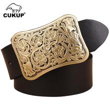 CUKUP Mens Fashion Brass Floral Pattern Smooth Buckles Metal Belts Cow Genuine Leather Belt for Men Accessory 3.8cm Wide NCK149
