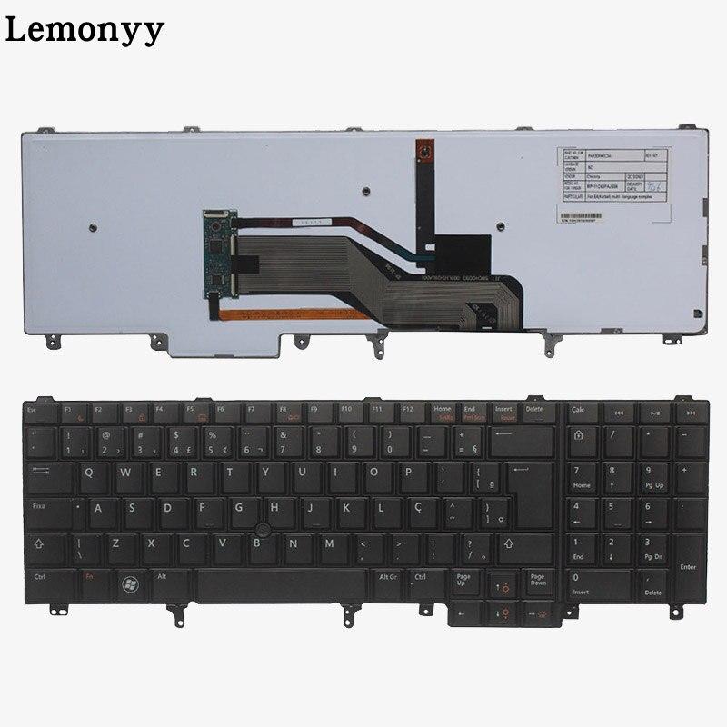 Brazilian Norwegian Danish Laptop Keyboard For DELL E6520 Teclado E6530 E6540 E5520 E5520M E5530 Backlit Pointer