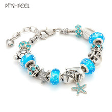 Poshfeel Summer Jewelry Starfish/Turtle Silver Charm Bracelets For Women Blue Murano Glass Beads Bracelets & Bangles Mbr170276