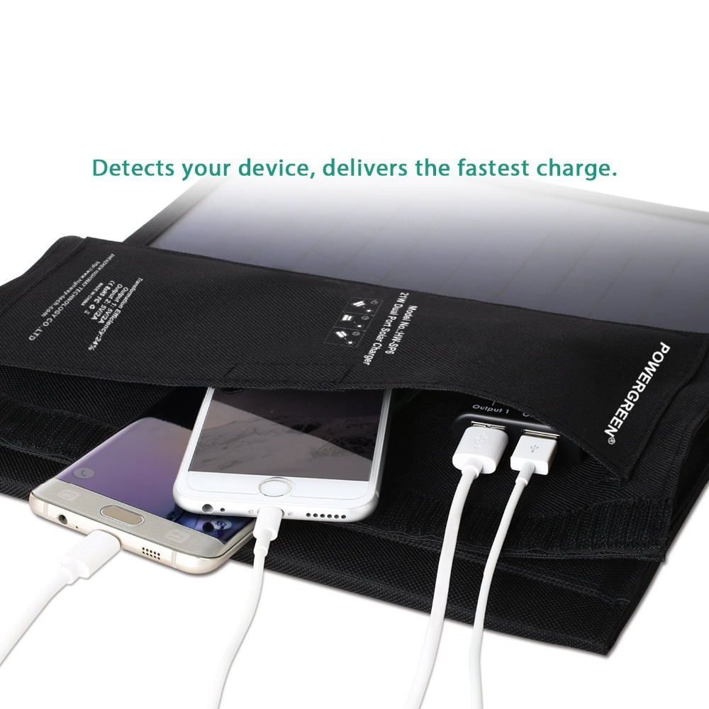 PowerGreen Faltbares Telefon Solarladegerät 21 Watt Tragbares 5V 2A - Handy-Zubehör und Ersatzteile - Foto 3