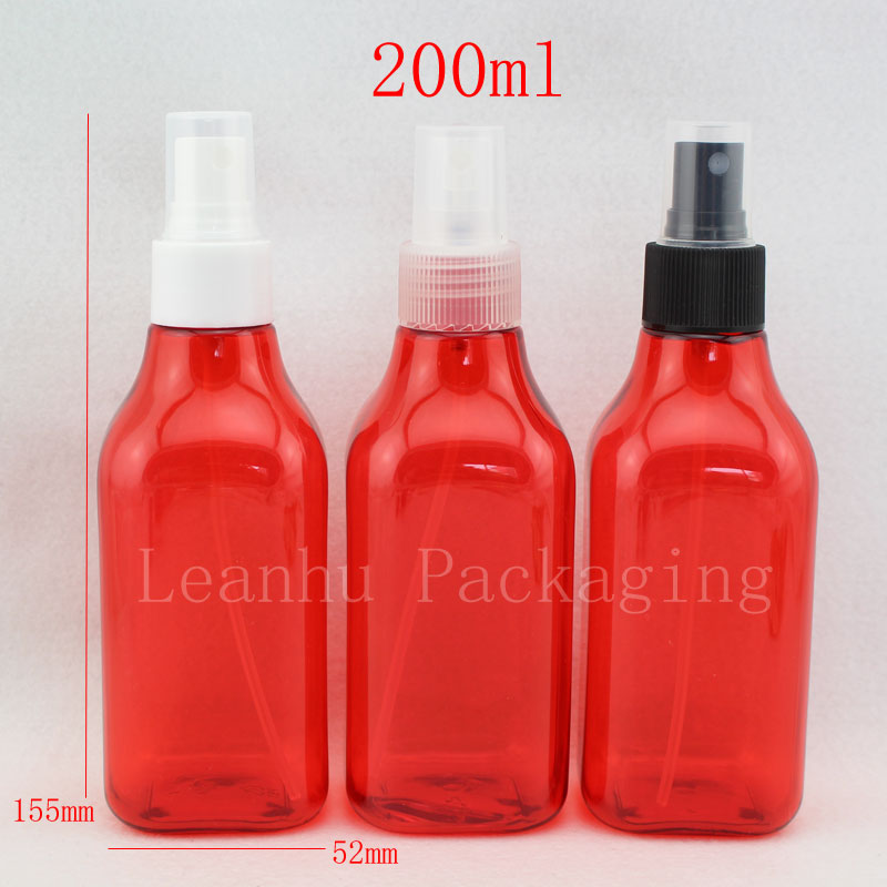 200ml red square bottle with spray