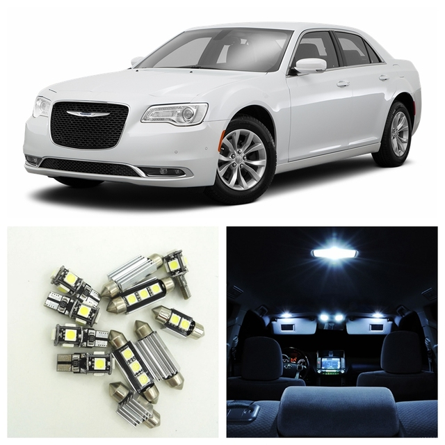 15pcs White Led Lights Bulbs Interior Kit For 2017 Chrysler 300 300c 300m Accessories Map Dome Trunk License Plate Light