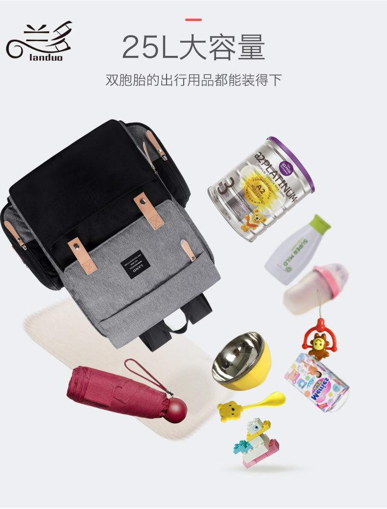 HTB1r594XoLrK1Rjy0Fjq6zYXFXah LAND Mommy Diaper Bags Landuo Mother Large Capacity Travel Nappy Backpacks with changing mat Convenient Baby Nursing Bags MPB86