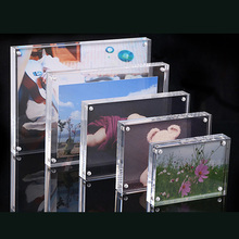 Small Freestanding Clear Acrylic Magnetic Picture Photo Poster Display Frame  Table Sign Price Tag Label Paper Promotion 60 90mm price tag name card display acrylic magnetic picture photo frame declining desk sign frame ad block label display stand