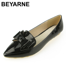 BEYARNE spring flats single shoes woman casual bow pointed toe shallow mouth by factory EU 33 43