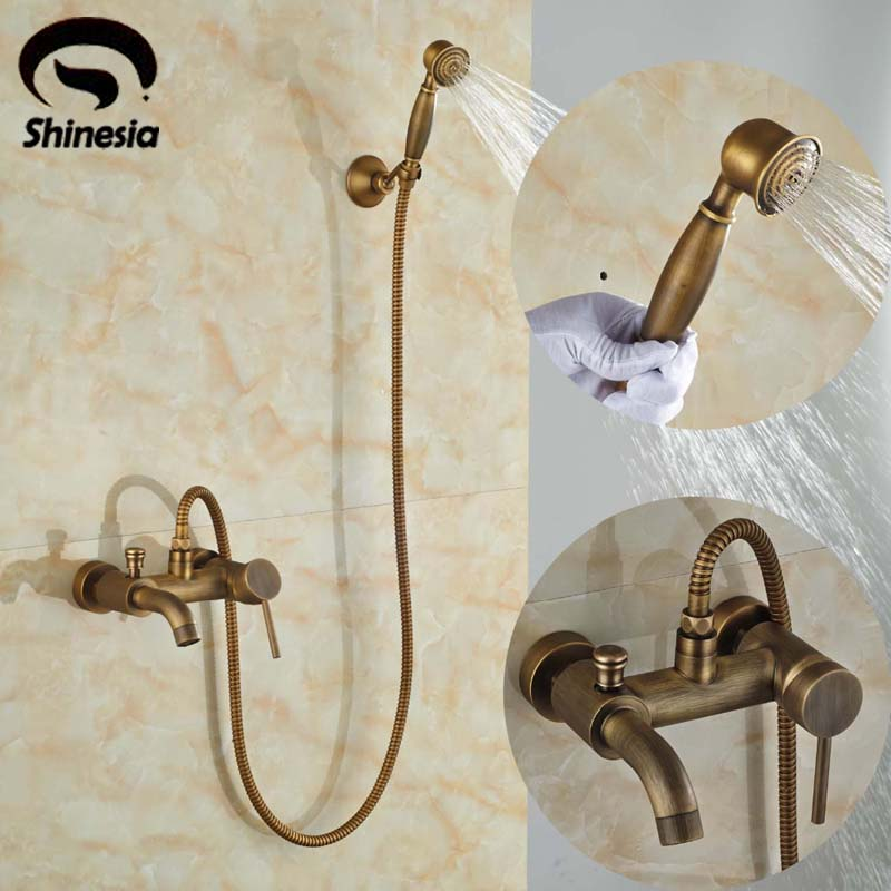 Wall-mount Single Handle Bath Shower Faucet With Handshower Antique Brass Bathroom Shower Mixer Tap luxury bathroom brass ceramic antique shower faucet set single handle wall mount exposed rainfall shower mixer tap