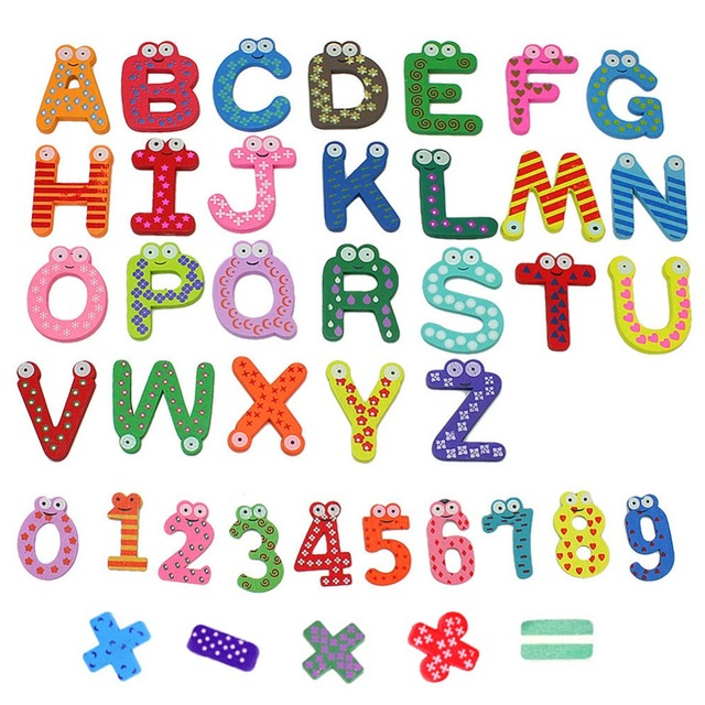 41pcsx Colorful Cartoon Design Wooden Letters Numbers Refrigerator Fridge Magnets Teaching Alphabet Kids Toys For