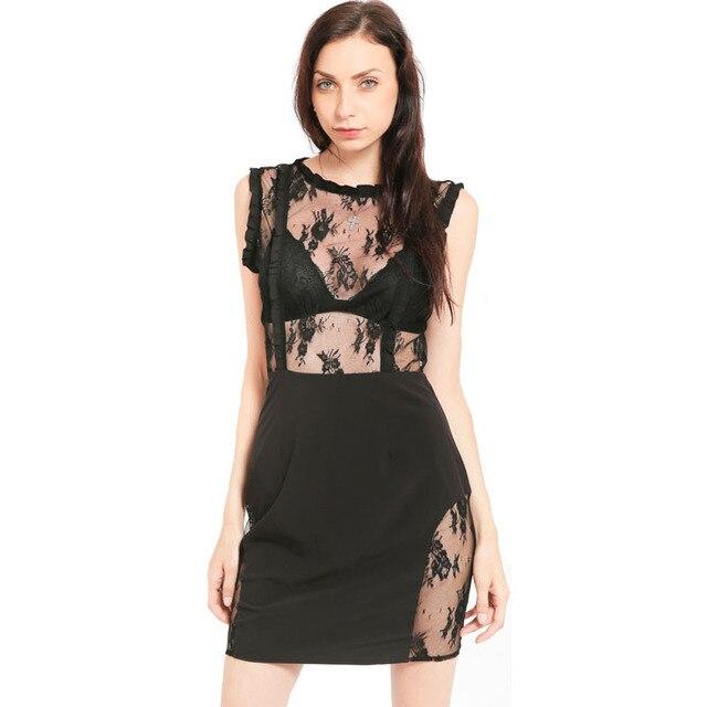 MUXU black lace transparent dress vestidos mujer summer roupas women  clothing sexy kleider fashion sukienka sundress 6cd672c4ddc7