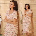 Brand Short Sleeve Sleep Lounge Women Sleepwear Cotton Floral Print Long Nightgowns Sexy Home Dress Nightdress Plus Size