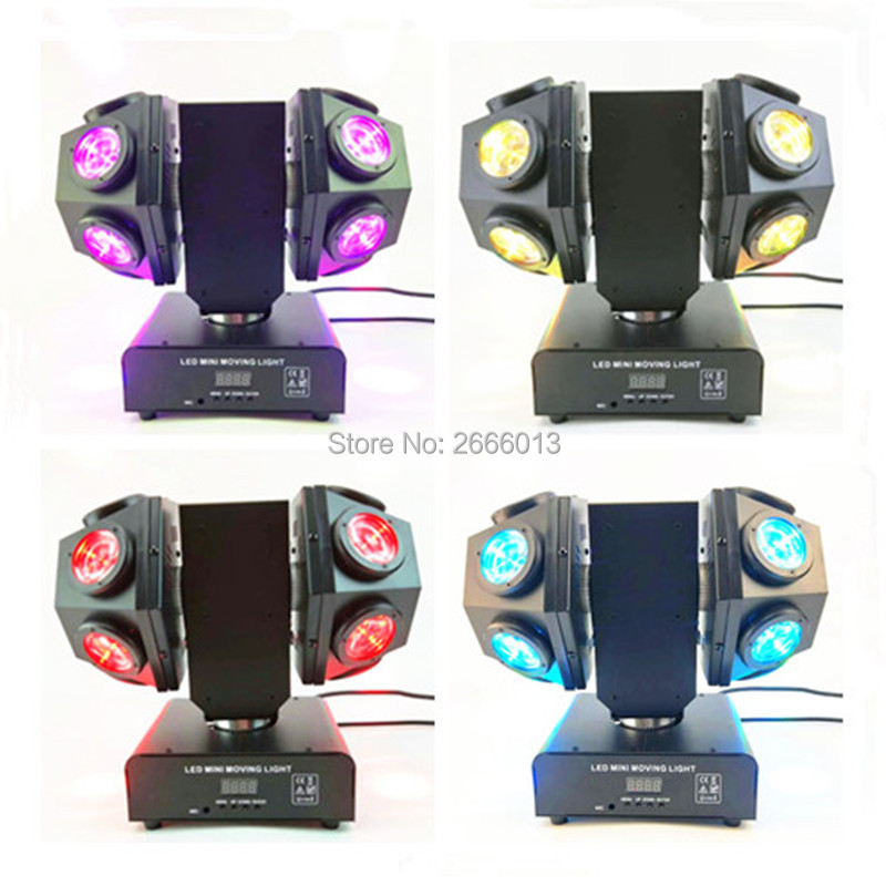 4pcs 12x10W Double Head Moving head light RGBW 4IN1 beam Double Arms stage light DMX512 Sound control LED Rotating stage effect