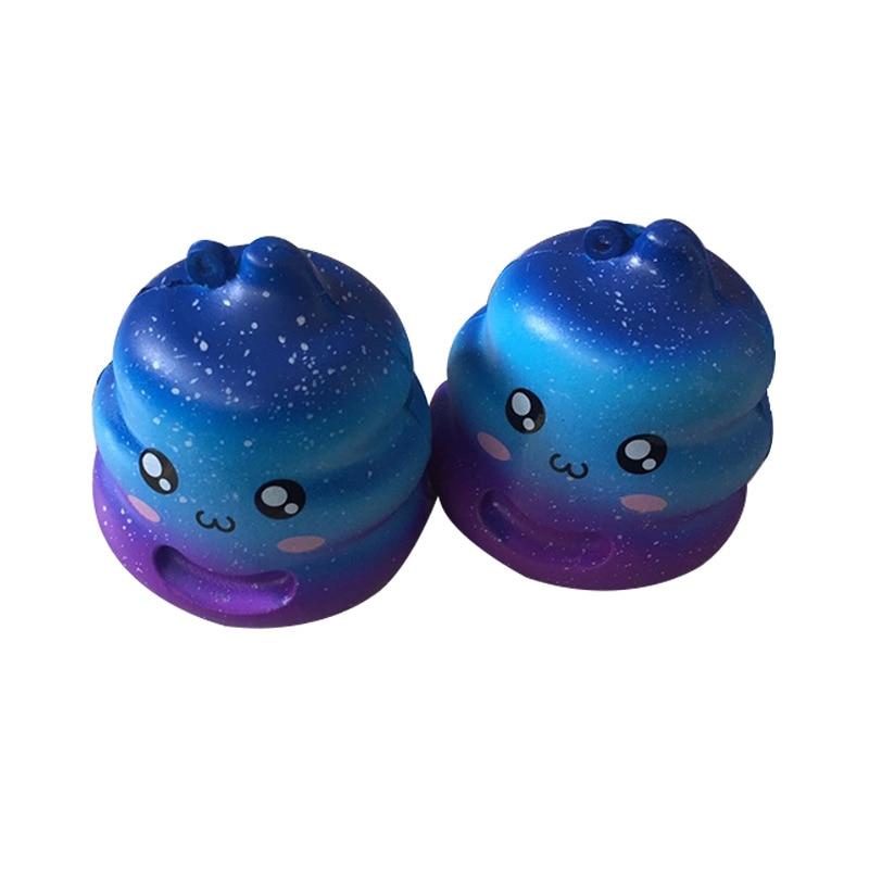 7CM Jumbo Colorful Rainbow Poo Squishy Slow Rising Cartoon Face Doll Phone Strap Decompr ...