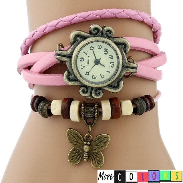 Gnova platinum GENUINE Leather Bracelet Watch BUTTERFLY Lady Vintage wristwatch