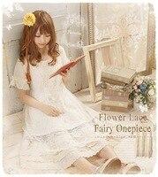 Japanese Harajuku Hippie Boho Mori Girl Lolita Vintage Retro Crochet Embroidery Cotton Linen Cotton Lace Women Summer Dress