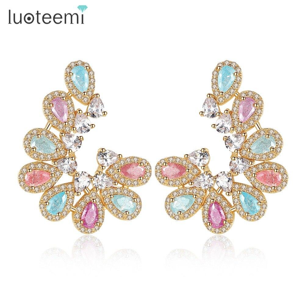LUOTEEMI Women Fashion Champagne Gold Color Multicolor Ice CZ Waterdrop Pearl-Cut Big Stud Earrings Gift Present Christmas waterdrop shaped stud earrings